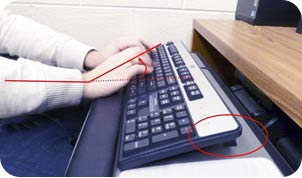 Wrist angle with keyboard feet extended