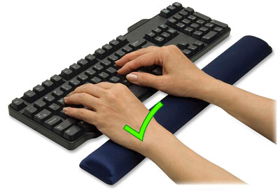 Correct palm rest use with pad supporting palms